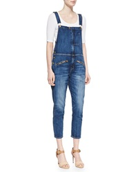 Current Elliott The Zip Denim Boyfriend Overalls
