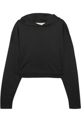 Golden Goose Deluxe Brand Cropped Jersey Hooded Top Black
