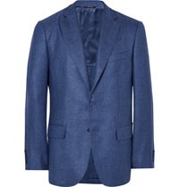 Loro Piana Blue Madrid Unstructured Silk And Cashmere Blend Hopsack Blazer Blue
