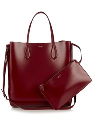 Rochas North South Leather Tote Burgundy
