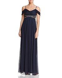 Decode 1.8 Draped Cold Shoulder Gown Navy
