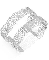 Touch Of Silver Tone Filigree Open Cuff Bracelet Silver