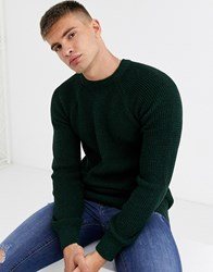 New Look Raglan Tuck Stitch Crew Neck Jumper In Dark Khaki Green