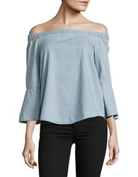 Ck Calvin Klein Chambray Off The Shoulder Top Blue