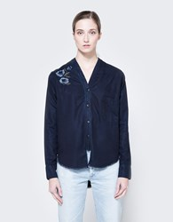 Frankie Denim V Neck Button Down Shirt Dark Blue