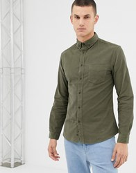 Celio Slim Fit Long Sleeve Shirt With Pocket In Green