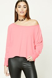 Forever 21 French Terry Dolman Top Pink Grey