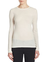Lord And Taylor Merino Wool Basic Crewneck Sweater Ivory