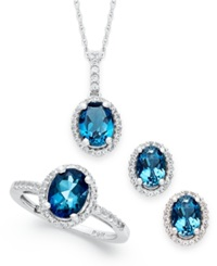 Macy's London Blue Topaz And White Topaz Jewelry Set 5 1 2 Ct. T.W. In Sterling Silver