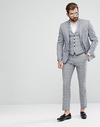 Rudie Charcoal Windowpane Check Skinny Fit Suit Trousers Grey