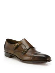 Edward Green Leather Double Monk Strap Shoes Dark Oak
