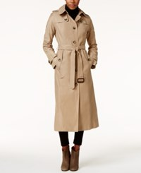 London Fog Hooded Water Resistant Maxi Trench Coat Khaki