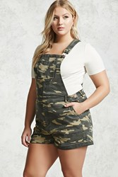 Forever 21 Plus Size Camo Overall Shorts Olive Brown