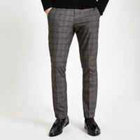 River Island Dark Grey Check Skinny Smart Trousers