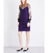 Nina Ricci Frilled Trim Floral Lace Dress Dark Purple
