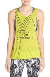 Women's Pink Lotus 'Revamp' Open Back Muscle Tank Laser Lemon