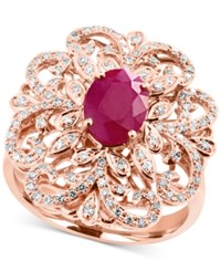 Effy Amore By Certified Ruby 1 3 8 Ct. T.W. And Diamond 3 8 Ct. T.W. Statement Ring In 14K Rose Gold
