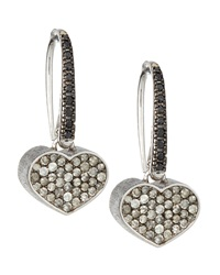 Nanis 2 Tone Diamond Pave Heart Earrings Black Ice