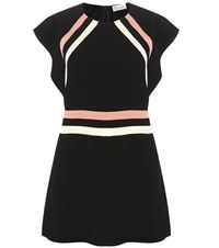 Red Valentino Striped Crepe Playsuit Black