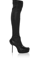 Rick Owens Stretch Leather Thigh Boots