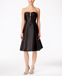Adrianna Papell Strapless Illusion Fit And Flare Dress Black