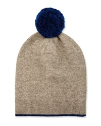 Neiman Marcus Knit Wool Blend Pompom Hat Natural