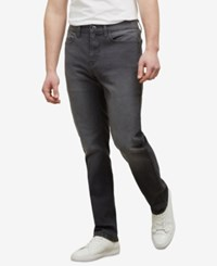 Kenneth Cole New York Men's Straight Fit Stretch Jeans Gray