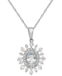 Macy's Aquamarine 5 8 Ct. T.W. And Diamond 3 8 Ct. T.W. Pendant Necklace In 14K White Gold