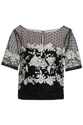 Marchesa Notte Woman Flocked And Embroidered Tulle Top Black