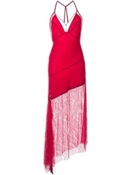 Manning Cartell Lace Overlay Asymmetric Dress Red