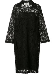 Maison Martin Margiela Floral Lace Polo Shirt Dress Black