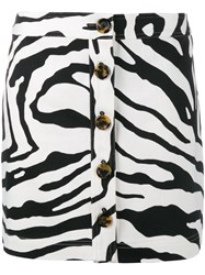 Adam By Adam Lippes Zebra Print Mini Skirt Black