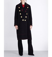 Burberry Military Double Breasted Wool And Cashmere Blend Coat Black