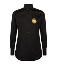 Billionaire Embroidered Crest Slim Fit Shirt Male Black