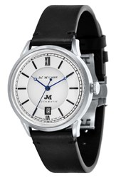 James Mccabe Men's Heritage Ii Automatic Leather Strap Watch 39.5Mm White Black