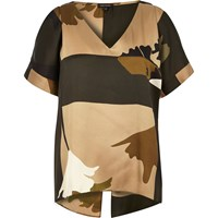 River Island Womens Brown Camouflage Print Cold Shoulder Tee