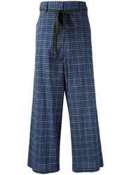 Hache High Rise Plaid Trousers Blue