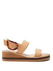 Ancient Greek Sandals Clio Rainbow Leather Wedge Sandals Tan
