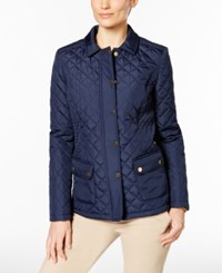 Charter Club Petite Quilted Water Resistant Coat Only At Macy's Intrepid Blue
