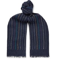 Paul Smith Fringed Embroidered Linen Scarf Navy