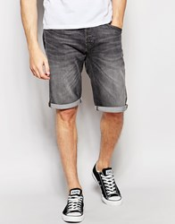Lee Denim Shorts In Grey Worn Grey Worn