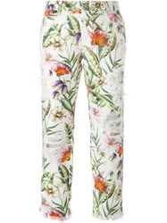 Ermanno Scervino Floral Print Cropped Jeans