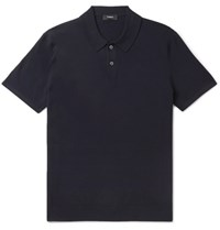 Theory Goris Knitted Polo Shirt Navy