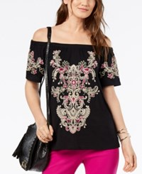 Inc International Concepts Petite Embroidered Cold Shoulder Top Created For Macy's Deep Black