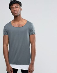 Asos Super Longline T Shirt With Contrast Hem And Raw Scoop Neck In Slate Murky White Blue