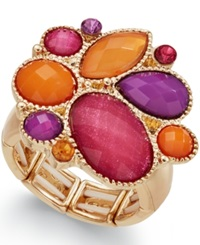 Style And Co. Gold Tone Multicolor Bold Stone Ring