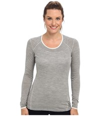 Smartwool Nts Micro 150 Pattern Crew Silver Grey Heather Women's Long Sleeve Pullover Gray