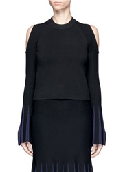 Nicholas Pleat Effect Cuff Cold Shoulder Sweater Black