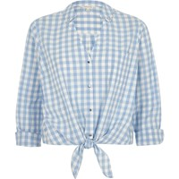 River Island Blue Gingham Print Tie Front Cropped Shirt