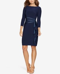 American Living Gabrielle Satin Ruffle Sheath Dress Navy
